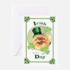 St. Patrick Pomeranian Greeting Card