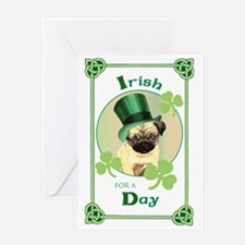 St. Patrick Pug Greeting Card