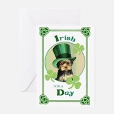 St. Patrick Yorkie Greeting Card