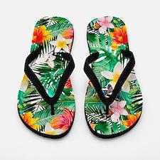 Tropical Aloha Jungle Pattern Flip Flops