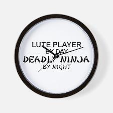 Lute Player Deadly Ninja Wall Clock