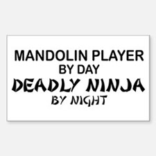 Mandolin Player Deadly Ninja Rectangle Decal
