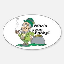 Who's Your Paddy Leprechaun Oval Decal