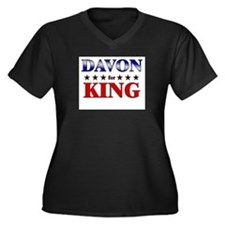 DAVON for king Women's Plus Size V-Neck Dark T-Shi