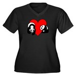 Panda Bear Love Women's Plus Size V-Neck Dark T-Sh