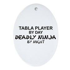 Tabla Player Deadly Ninja Oval Ornament