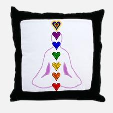 Chakras - Hearts Throw Pillow