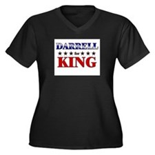 DARRELL for king Women's Plus Size V-Neck Dark T-S