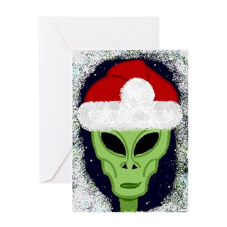 """Smiley"" Alien Santa Card Greeting Cards"