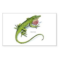 Green Anole Lizard Rectangle Decal