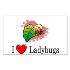 I Love Ladybugs Rectangle Decal