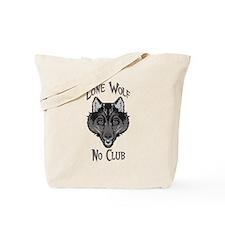 Grey Lone Wolf No Club Tote Bag