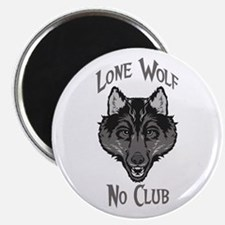 "Grey Lone Wolf No Club 2.25"" Magnet (100 pack)"