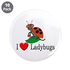 """I Love Ladybugs 3.5"""" Button (10 pack)"""