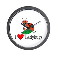 I Love Ladybugs Wall Clock