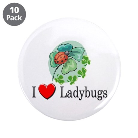 "I Love Ladybugs 3.5"" Button (10 pack)"