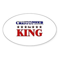 CRISTOPHER for king Oval Decal