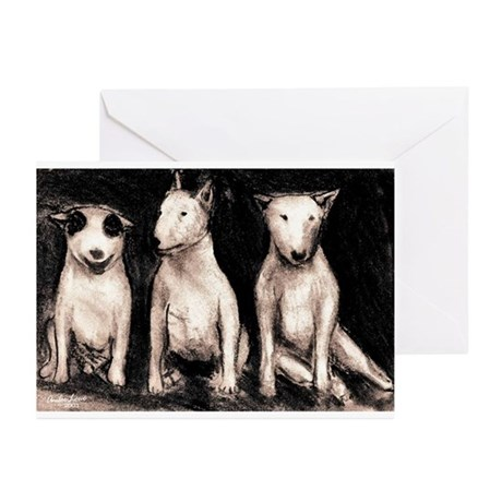 3 Bull Terriers Greeting Cards (Pk of 10)