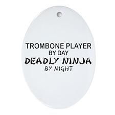 Trombone Player Deadly Ninja Oval Ornament