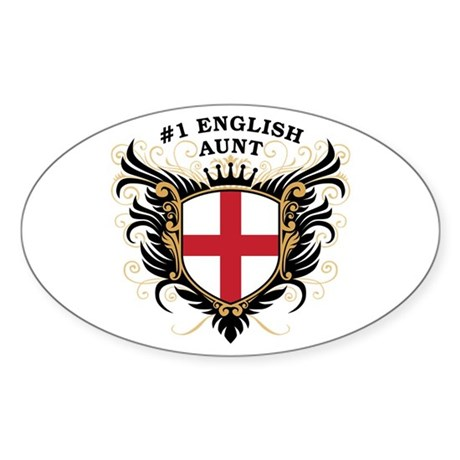 Number One English Aunt Oval Sticker