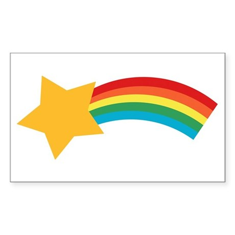 Retro Shooting Star Rectangle Sticker