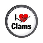 I Love Clams for Clam Lovers Wall Clock
