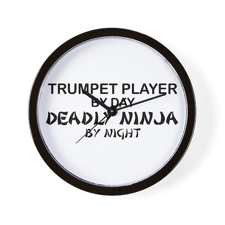 Trumpet Player Deadly Ninja Wall Clock