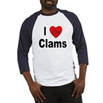 I Love Clams (Front) Baseball Jersey