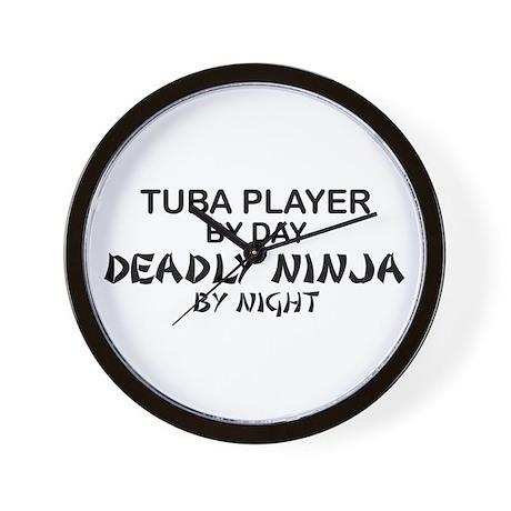 Tuba Player Deadly Ninja Wall Clock