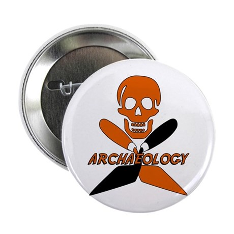 "Skull & Crossed Trowels 2.25"" Button"