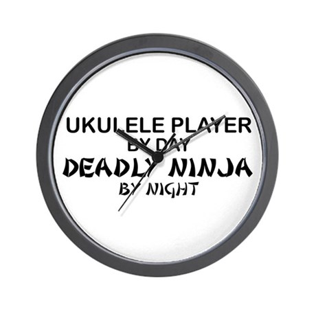 Ukulele Player Deadly Ninja Wall Clock