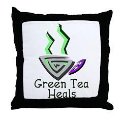 Green Tea Heals Throw Pillow