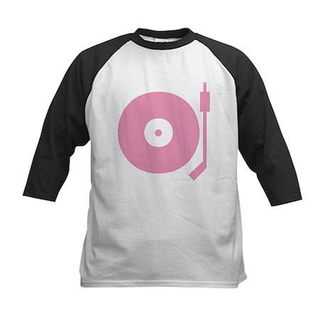 Old school record player pink Kids Baseball Jersey