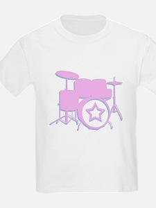 3-D drum set pink T-Shirt