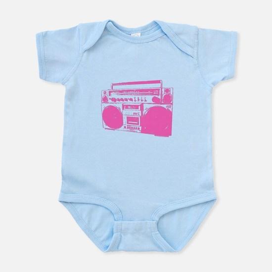 Retro boobbox hot pink Infant Bodysuit