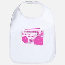 Retro boobbox hot pink Bib