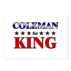 COLEMAN for king Postcards (Package of 8)