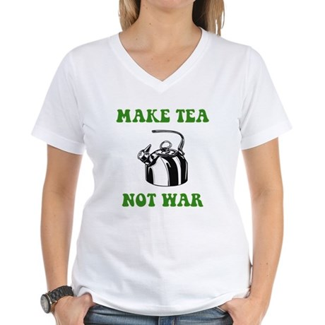 Make Tea Not War Women's V-Neck T-Shirt