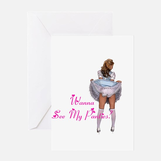 Wanna see my panties? Greeting Card