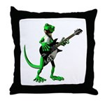 Electric Guitar Gecko Throw Pillow