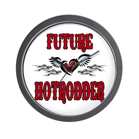future hotrodder red wall clock