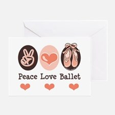 Peace Love Ballet Ballerina Greeting Card