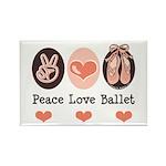 Peace Love Ballet Ballerina Rectangle Magnet (100