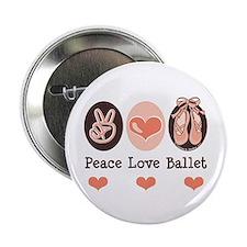 """Peace Love Ballet Ballerina 2.25"""" Button (10 pack)"""