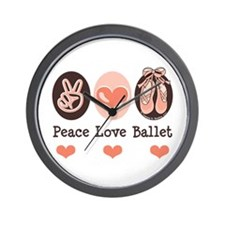 Peace Love Ballet Ballerina Wall Clock