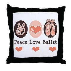 Peace Love Ballet Ballerina Throw Pillow