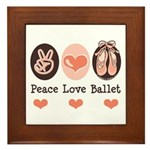 Peace Love Ballet Ballerina Framed Tile