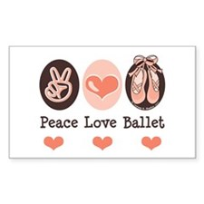 Peace Love Ballet Ballerina Rectangle Decal