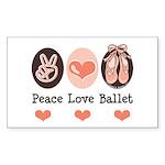 Peace Love Ballet Ballerina Rectangle Sticker