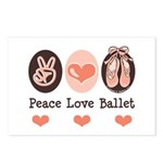 Peace Love Ballet Ballerina Postcards (Package of